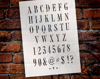 Tall Serif Alphabet, Numbers and Symbols - Stencil - Select Size - STCL2030 - by StudioR12