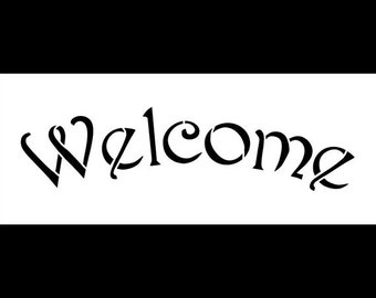 Arched Welcome Stencil for Painting Wood Signs by StudioR12 | Reusable Mylar | Easily Paint Perfect Lettered Signs for Entrance...