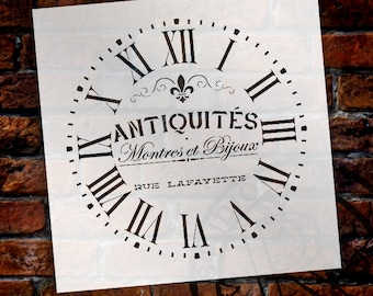 Round Clock Stencil - Roman Numerals - French Antique Words - DIY Painting Vintage  Country  Farmhouse Home Decor Walls - SELECT SIZE
