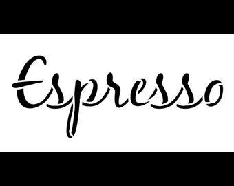 "Espresso Word Art Stencil-Casual Script - 5"" X 2 1/2"" - SKU:STCL824_1"