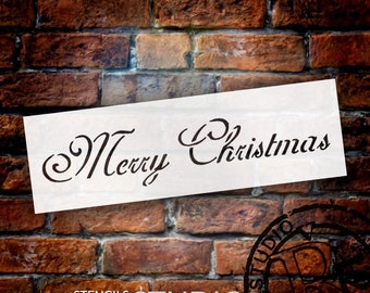 Merry Christmas Stencil by StudioR12 | Elegant Script Word Art - Mini 8 x 3-inch Reusable Mylar Template | Painting, Chalk, Mixed Media |...