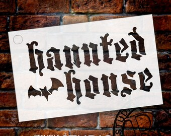 Haunted House Stencil  - Batty -  Select Size - STCL659 - by StudioR12
