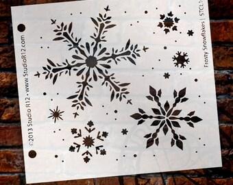Frosty Snowflake Stencil -by StudioR12 - Christmas, Holiday, Santa, Painting, Journal, Window, Mixed Media, Air Brush, Chalk -SKU: STCL164_1