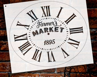 Oval Clock Stencil w/ Roman Numerals - Farmers Market Letters - DIY Painting Vintage Rustic Farmhouse Country Home Decor Walls - SELECT SIZE