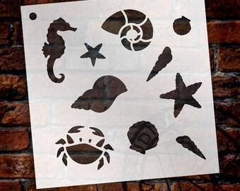 """Beachcombing - Pattern Stencil - 6"""" x 6"""" - SKU: STCL813_1"""
