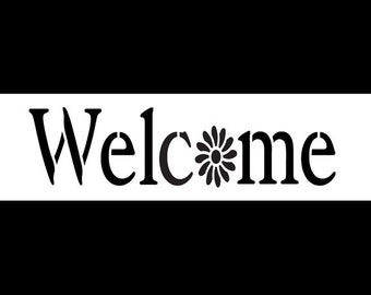 Welcome -Vintage Serif with Flower - Horizontal - Word Stencil -  Select Size - STCL1190 by StudioR12