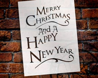 Merry Christmas And Happy New Year - Festive - Word Art Stencil - Select Size - STCL2085 - by StudioR12