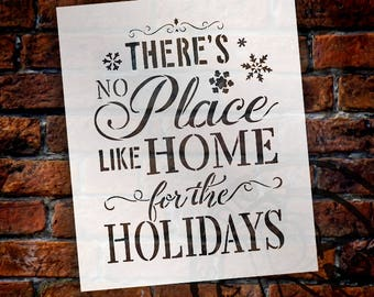Home For The Holidays - Elegant - Word Art Stencil - Select Size - STCL2028 - by StudioR12