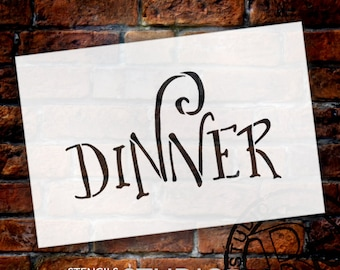 Wedding Sign Stencil - Dinner - Fancy Funky - Select Size- STCL1638 - by StudioR12