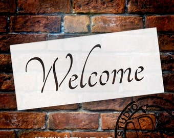 Word Stencil - Welcome - Graceful 16 x 8 - by StudioR12 - STCL226