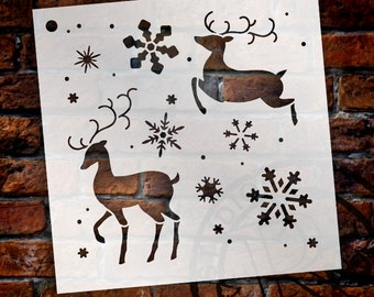 Elegant Reindeer Stencil by StudioR12 - Reusable, Snowflake, Christmas, Holiday, Santa, Sign Painting, Wall Art, Chalk-SELECT SIZE -STCL997