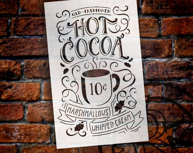 Featured listing image: Hot Cocoa Stencil by StudioR12 | Reusable, Typography, Painting, Chalk,| Use to Craft Christmas/ Winter Wood Signs (STCL1384_2) SELECT SIZE