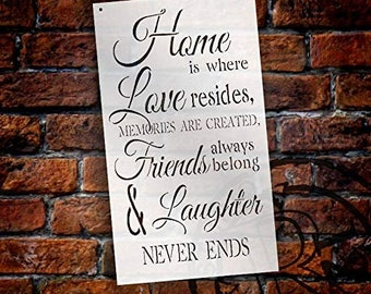 Home is Where Love Resides Stencil by StudioR12 | Reusable Mylar Template | Use to Paint Wood Signs - Pallets - Pillows - DIY Home,...