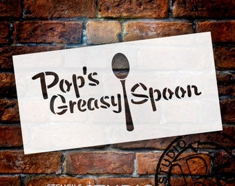 Pop's Greasy Spoon - Word Art Stencil - Select Size - STCL1326 - by StudioR12