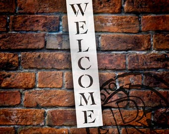 Welcome Classic Vertical Word Stencil - SELECT SIZE - STCL222 - by StudioR12
