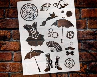 """Steampunk Kitty - Art Stencil - 8.5"""" x 11""""-SKU: STCL690"""