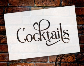 Wedding Sign Word - Cocktails - Elegant Traditional - Select Size- STCL1744 - by StudioR12