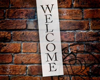 Welcome - Skinny Traditional - Vertical - Word Stencil - Select Size -STCL1178 - by StudioR12