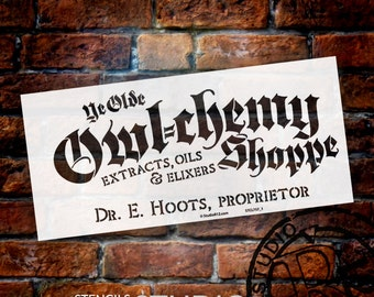 "Ye Olde Owl-Chemy Shoppe Word Art Stencil - 6 1/2 "" X 14"" - STCL757_1 - by StudioR12"