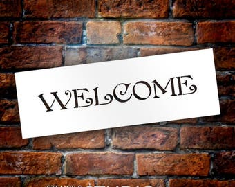 "Welcome - Word Stencil - Victorian Country - 15"" x 5""- STCL587 - by StudioR12"