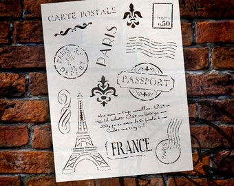 "Passport To Paris  Stencil - 8.5"" x 11"" - STCL366 - by StudioR12"