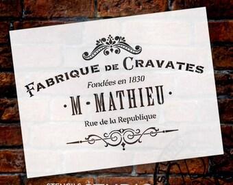 Fabrique De Cravates Word Art Stencil - Select Size -STCL892