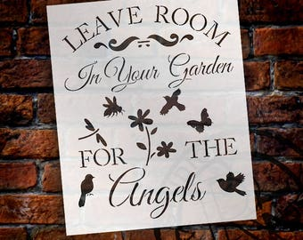 """Leave Room In The Garden For The Angels - Art Stencil - 11.5"""" x 14"""" - STCL1222 - by StudioR12"""