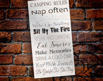 """Camping Rules Word Stencil - 13"""" x 25"""" - STCL1451_1 - by StudioR12"""