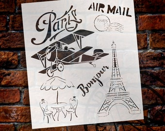 Paris Air Mail Art Stencil - SELECT SIZE - STCL1110 - by StudioR12