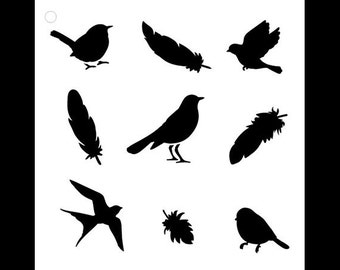 Birds of a Feather - Art Stencil - Select Size - STCL1044 - by StudioR12