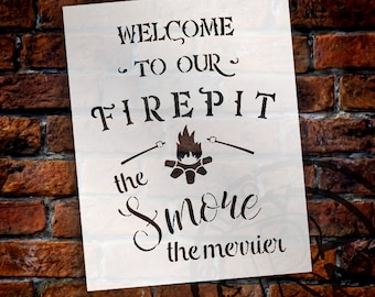 Welcome To Our Firepit Stencil - the Smore the Merrier by StudioR12 | Reusable Mylar Template | Fall - Use to Paint Wood Signs - SELECT SIZE