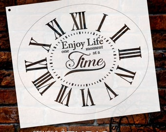 Oval Clock Stencil w/ Roman Numerals - Enjoy Life One Moment at a Time Letters - DIY Painting Farmhouse Country Home Decor Art - SELECT SIZE