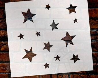 "Simple Funky Stars Stencil- 6"" x 6"" - by StudioR12 - STCL235"