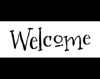 """Welcome - Word Stencil - Whimsical - 11"""" X 4"""" -SKU:STCL586"""