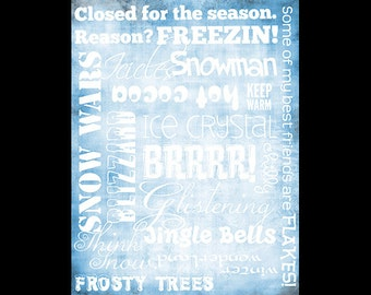 "Winter Words Collage Paper - Frosty Blue - 8"" x 10 1/2"" - CLPR070"