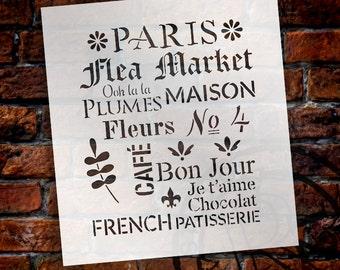 Paris Flea Market - Word Art Stencil - Select Size - STCL1485 - by StudioR12