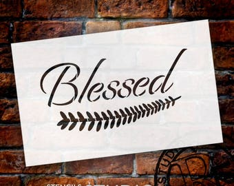 Blessed - Elegant - Leaf - Word Art Stencil - Select Size - STCL2104 - by StudioR12
