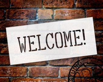 Welcome - Shower Word Stencil - Select Size - STCL1492 - by StudioR12