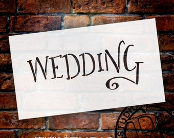 Wedding Sign Stencil - Wedding - Fancy Funky - Select Size- STCL1626 - by StudioR12
