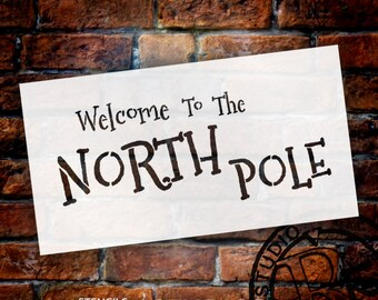 """Word Stencil - Welcome to the North Pole - 13"""" X 7"""" - SKU:STCL519"""
