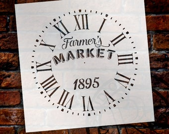 Round Clock Stencil  Roman Numerals - Farmers Market Letters - DIY Painting Vintage Rustic Farmhouse Country Home Decor Walls - SELECT SIZE