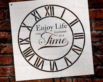 Round Clock Stencil - Industrial Roman Numerals - Enjoy Life One Moment at a Time Letters - DIY Paint Wood Clock Home Decor  - SELECT SIZE