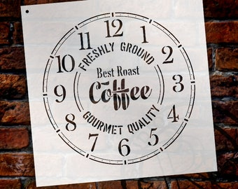 Round Coffee Clock Stencil Small to Extra Large -  DIY Painting Wood Clocks  Rustic Farmhouse Country Home Decor for Walls - SELECT SIZE