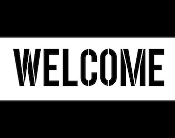 Welcome - Modern Headline - Horizontal - Word Stencil - Select Size - STCL1181 - by StudioR12