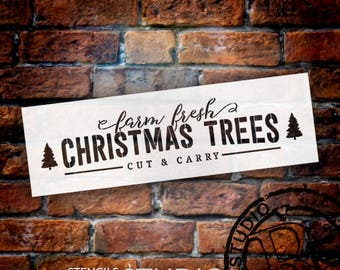 Farm Fresh Christmas Trees - Long - Word Art Stencil - Select Size - STCL2002 - by StudioR12