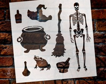"Halloween Brew Art Elements Stencil - 12"" x 12"" - STCL1168_1 - by StudioR12"