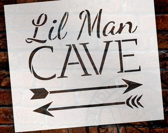 Lil Man Cave - Arrows - Word Art Stencil - Select Size - STCL1838 - by StudioR12