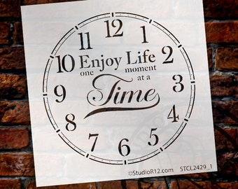 Round Clock Stencil - Enjoy Life One Moment at a Time Letters - Small to Extra Large  DIY Painting Farmhouse  Home Decor Art - SELECT SIZE