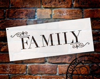 Family - Word Art Stencil - Classic Embellished - Select Size - STCL668 - StudioR12