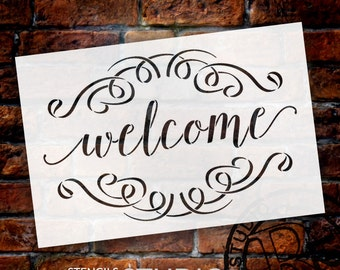 Welcome Stencil with Scrolls by StudioR12 | Reusable Mylar |for painting on Pallet Wood signs - Farmhouse | for DIY Home Decor - SELECT SIZE